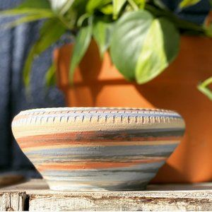 Vintage Signed Handmade Striped Pottery Planter